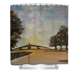 Shower Curtain featuring the painting B52 by Saundra Johnson