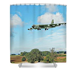 Shower Curtain featuring the digital art B52 Stratofortress -2 by Paul Gulliver