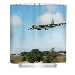 Shower Curtain featuring the digital art B52 Stratofortress by Paul Gulliver