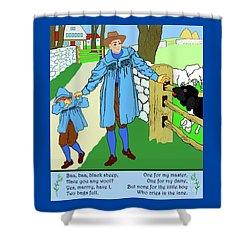 Shower Curtain featuring the painting Baa, Baa, Black Sheep Nursery Rhyme by Marian Cates