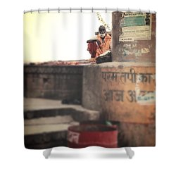 Baba At The Ghats Shower Curtain