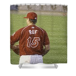 Babe Ruf Shower Curtain by Trish Tritz