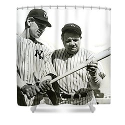 Babe Ruth And Lou Gehrig Shower Curtain by Jon Neidert