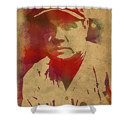 Babe Ruth Baseball Player New York Yankees Vintage Watercolor Portrait On Worn Canvas Shower Curtain by Design Turnpike