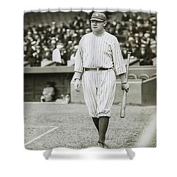 Babe Ruth Going To Bat Shower Curtain by Jon Neidert
