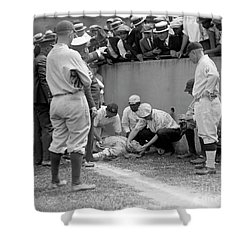 Babe Ruth Knocked Out By A Wild Pitch Shower Curtain