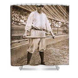 Babe Ruth On Deck Shower Curtain by Jon Neidert
