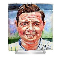 Babe Ruth Portrait Shower Curtain