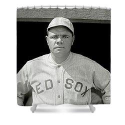 Babe Ruth Red Sox Shower Curtain by Jon Neidert