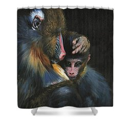 Shower Curtain featuring the painting Baboon Mother And Baby by David Stribbling