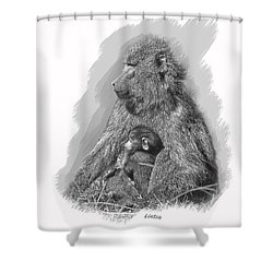 Baboon Mother And Young Shower Curtain