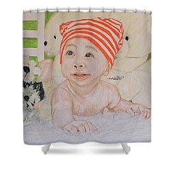 Baby And Stuff Bears Shower Curtain