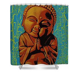 Baby Buddha Shower Curtain by Ashley Price