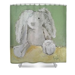 Baby Bunny Shower Curtain by Barbara Andolsek