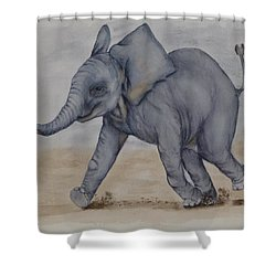 Baby Elephant Run Shower Curtain by Kelly Mills