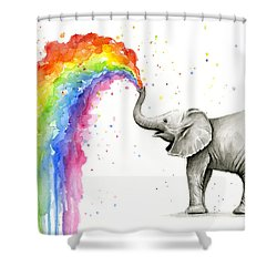 Baby Elephant Spraying Rainbow Shower Curtain by Olga Shvartsur