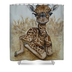 New Born Baby Giraffe Shower Curtain
