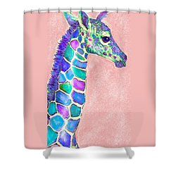 Baby Giraffe Pink And Purple Shower Curtain by Jane Schnetlage