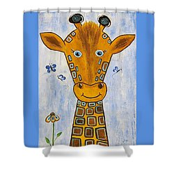 Baby Giraffe Shower Curtain by Suzanne Theis