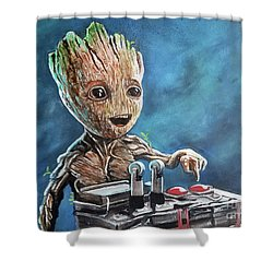 Baby Groot Shower Curtain by Tom Carlton
