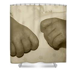 Baby Hands Shower Curtain by Ellen O'Reilly