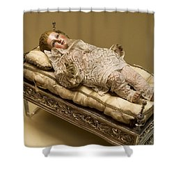 Baby Jesus In Lace Shower Curtain by Lorraine Devon Wilke