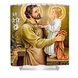 Baby Jesus Talking To Joseph Shower Curtain
