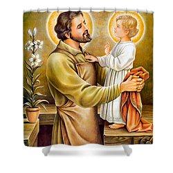 Baby Jesus Talking To Joseph Shower Curtain
