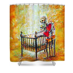 Shower Curtain featuring the painting Baby Love by Heather Calderon