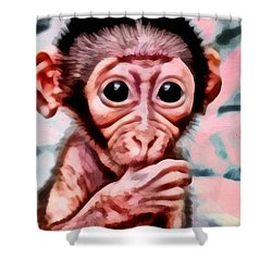 Baby Monkey Realistic Shower Curtain by Catherine Lott