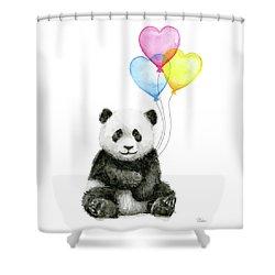 Baby Panda With Heart-shaped Balloons Shower Curtain by Olga Shvartsur