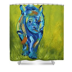 Baby Rhino Animal Art Painting Shower Curtain by Catherine Jeltes