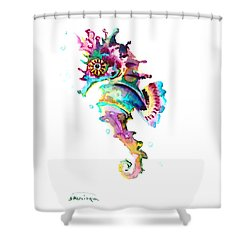 Baby Seahorse Shower Curtain by Suren Nersisyan