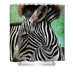 Shower Curtain featuring the painting Baby Zebra by Linda Apple