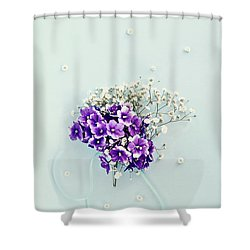 Baby's Breath And Violets Bouquet Shower Curtain