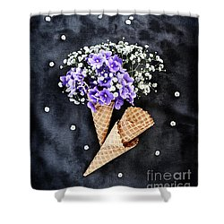 Baby's Breath And Violets Ice Cream Cones Shower Curtain