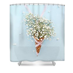 Shower Curtain featuring the photograph Baby's Breath Ice Cream Cone by Stephanie Frey