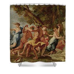 Bacchanal Before A Herm Shower Curtain by Nicolas Poussin
