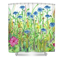 Shower Curtain featuring the painting Bachelor Button Meadow by Cathie Richardson
