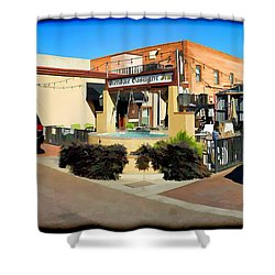 Back Alley View Of The Gaslight Inn Patio Shower Curtain by Charles Ables