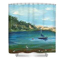 Shower Curtain featuring the painting Back Bay From Back Bay Inn Los Osos Ca by Katherine Young-Beck