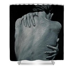 Back Of Naked Woman Shower Curtain by Jindra Noewi