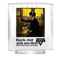 Shower Curtain featuring the painting Back Our Girls Over There by War Is Hell Store
