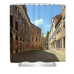 Shower Curtain featuring the photograph Back Street In Venice by Anne Kotan