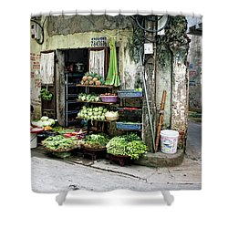 Back Street Veggies Store I Shower Curtain