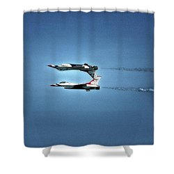 Shower Curtain featuring the photograph Back To Back Thunderbirds Over The Beach by Bill Swartwout Fine Art Photography