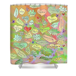 Back To The Garden Leaves, Hearts, Flowers, With Words Shower Curtain