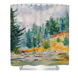 Shower Curtain featuring the painting Afternoon In The Backcountry by Andrew Gillette