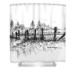 Backlit Fence Shower Curtain