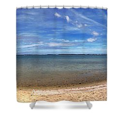 Shower Curtain featuring the photograph Backwater Bay Pano by T Brian Jones